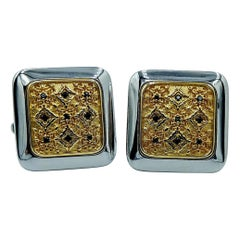Luca Jouel Black Diamond Square Floral Cuff Links in 18 Carat Gold and Silver