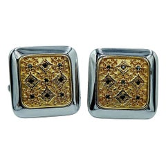 Luca Jouel Black Diamond Square Floral Cufflinks in Yellow Gold and Silver