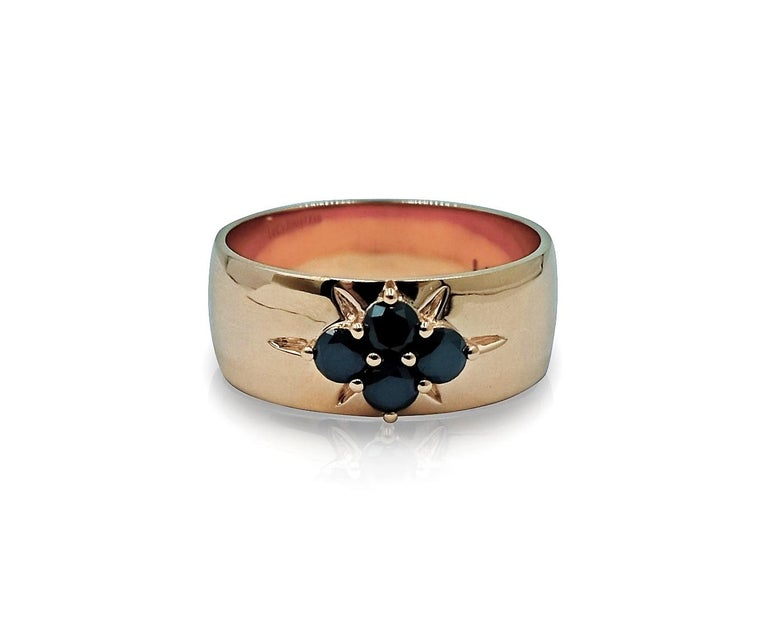 Contemporary Luca Jouel Black Diamond Starr Band in Rose Gold