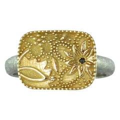 Luca Jouel Black Diamond Yellow Gold and Palladium Flora Ring