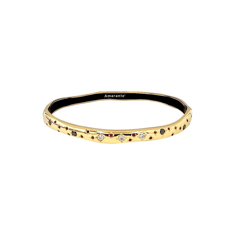 Luca Jouel Black, White Diamond and Ruby with Black Enamel Bangle in Yellow Gold For Sale