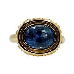 Luca Jouel Blue Spinel Ornate Statement Ring in Yellow Gold