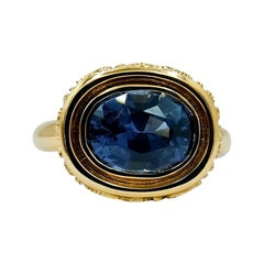 Luca Jouel Blue Spinel Statement Dress Ring in 18 Carat Yellow Gold