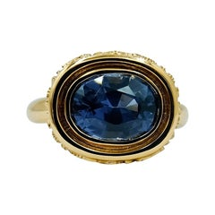 Luca Jouel Dark Blue Spinel Statement Ring in 18 Carat Yellow Gold
