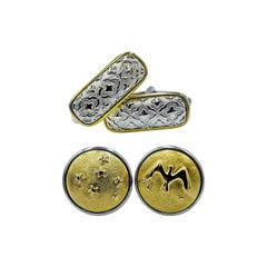 Luca Jouel Decorative Cufflinks Duo in Yellow Gold and Silver
