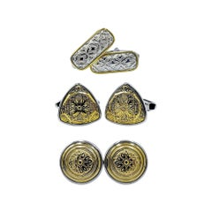 Luca Jouel Decorative Cufflinks Trio in Yellow Gold and Silver