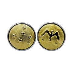 Luca Jouel Decorative Eagle and Stars Cufflinks in Yellow Gold and Silver