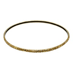 Luca Jouel Decorative Floral and Black Enamel Bangle in 18 Carat Yellow Gold