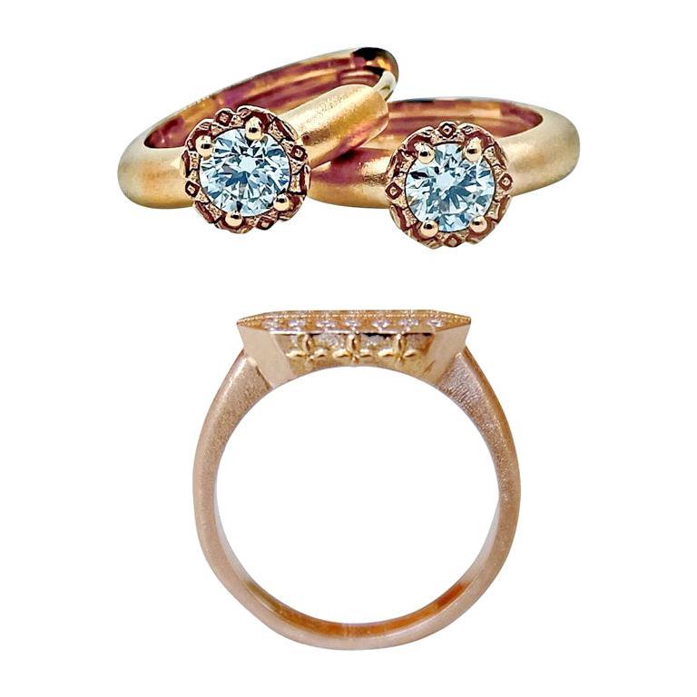 Luca Jouel Diamond Deco Crosse Ring and Huggie Hoop Earrings in Rose Gold For Sale