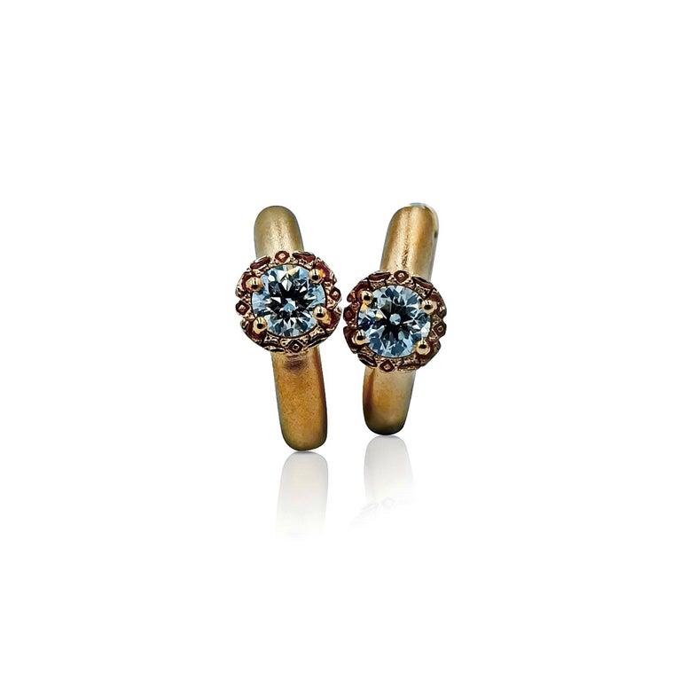 Women's Luca Jouel Diamond Deco Crosse Ring and Huggie Hoop Earrings in Rose Gold For Sale