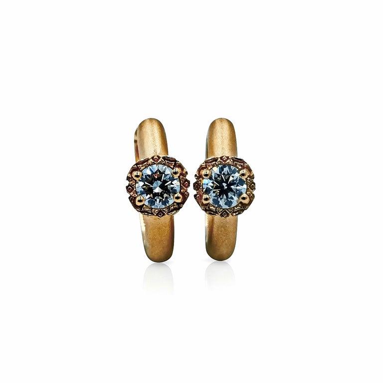 Luca Jouel Diamond Deco Crosse Ring and Huggie Hoop Earrings in Rose Gold For Sale 1