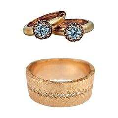 Luca Jouel Diamond Deco Huggie Hoop Earrings and Cigar Band Ring in Rose Gold