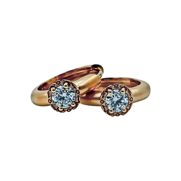 Contemporary Luca Jouel Diamond Deco Huggie Hoop Earrings and Cigar Band Ring in Rose Gold For Sale