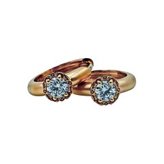Luca Jouel Diamond Deco Style Huggie Hoop Earrings in 18 Carat Rose Gold