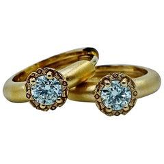 Luca Jouel Diamond Deco Style Huggie Hoop Earrings in 18 Carat Yellow Gold