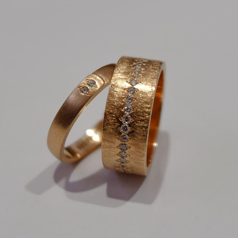 Round Cut Luca Jouel Diamond Demi Ancienne Diamant Ring in Rose Gold For Sale