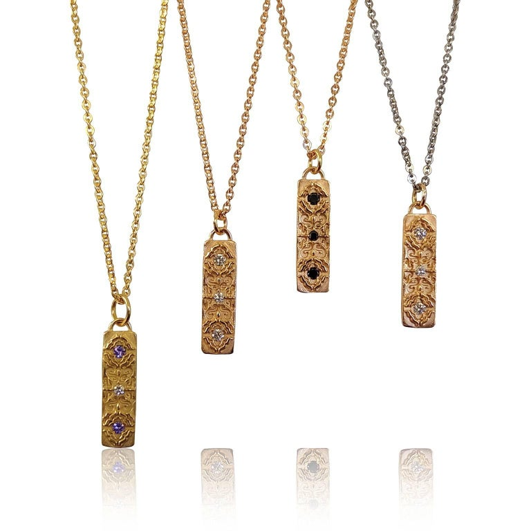 Women's Luca Jouel Diamond Labyrint Necklace in Rose Gold For Sale