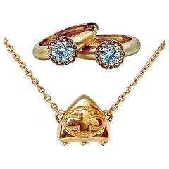 Luca Jouel Diamond Necklace and Huggie Hoop Earrings in Rose Gold