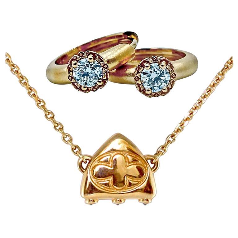 Luca Jouel Diamond Necklace and Huggie Hoop Earrings in Rose Gold For Sale
