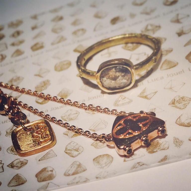 Luca Jouel Diamond Necklace and Huggie Hoop Earrings in Rose Gold For Sale 2