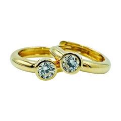 Luca Jouel Diamond Petite Hoop Earrings in Yellow Gold