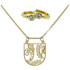 Luca Jouel Diamond Petite Hoop Earrings & Ornate Floral Necklace in Yellow Gold
