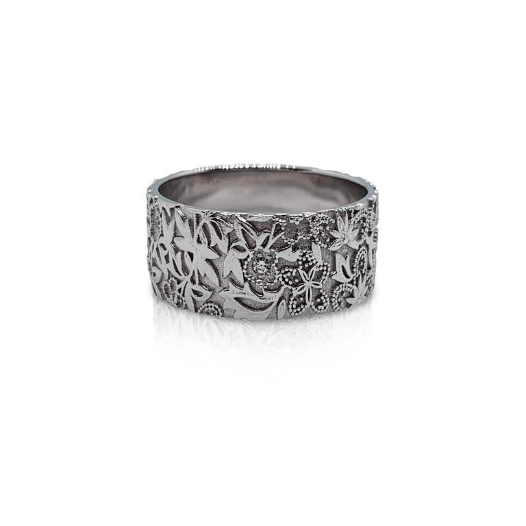 Contemporary Luca Jouel Diamond White Gold Floral Diamond Cigar Band For Sale