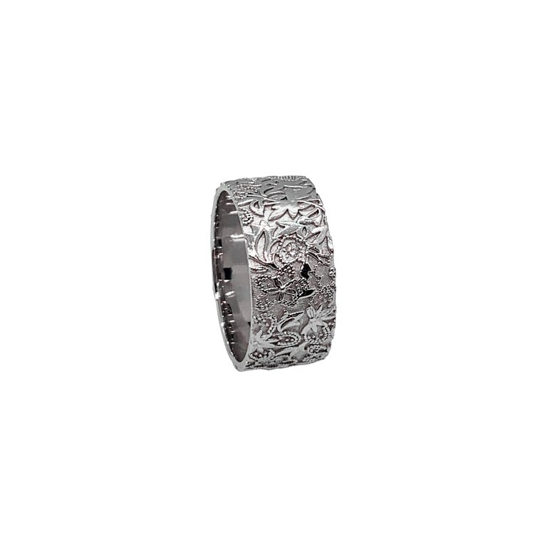 Luca Jouel Diamond White Gold Floral Diamond Cigar Band For Sale