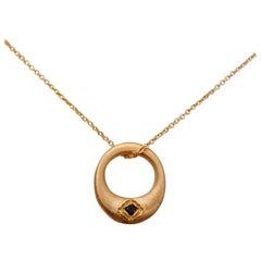 Luca Jouel Ebon Zen Cercle Black Diamond Necklace in 18 Carat Rose Gold