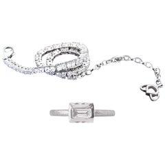 Luca Jouel Finest White Diamond Lotus Tennis Bracelet and Platinum Lotus Ring