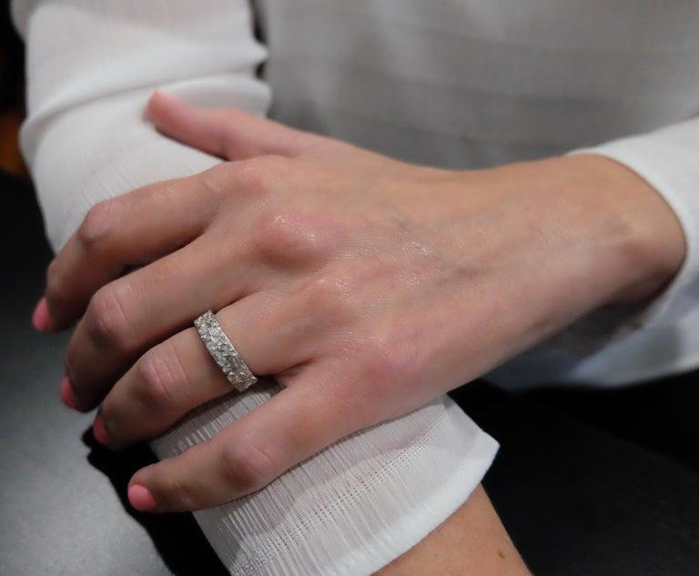 Luca Jouel Finest White Diamond Lotus Tennis Bracelet and Floral Platinum Band For Sale 7