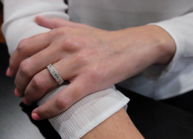 Luca Jouel Finest White Diamond Lotus Tennis Bracelet and Floral Platinum Band For Sale 9