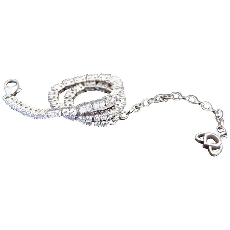 Contemporary Luca Jouel Finest White Diamond Lotus Tennis Bracelet and Floral Platinum Band For Sale