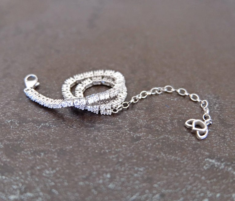 Luca Jouel Finest White Diamond Lotus Tennis Bracelet and Floral Platinum Band In New Condition For Sale In South Perth, AU