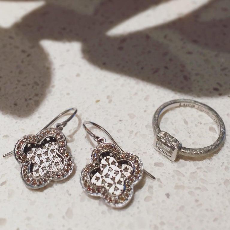Luca Jouel Finest White Diamond Lotus Tennis Bracelet and Platinum Lotus Ring For Sale 8