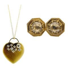 Luca Jouel La Lune Diamond Night Sky Motif Heart Necklace and Deco Stud Earrings