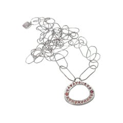 Luca Jouel Malaia Garnet Freeform Circle Necklace in Silver