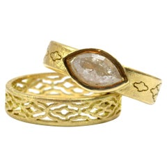 Luca Jouel Marquise Diamond Arabesque Ring and Arabesque Band in Yellow Gold