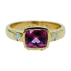 Luca Jouel Mulberry Spinel and White Diamond Ring in 18 Carat Yellow Gold