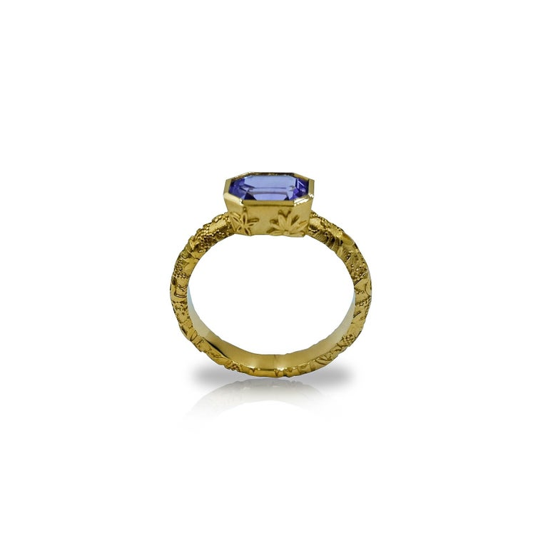Emerald Cut Luca Jouel Natural Violet Sapphire Ornate Ring in Yellow Gold For Sale