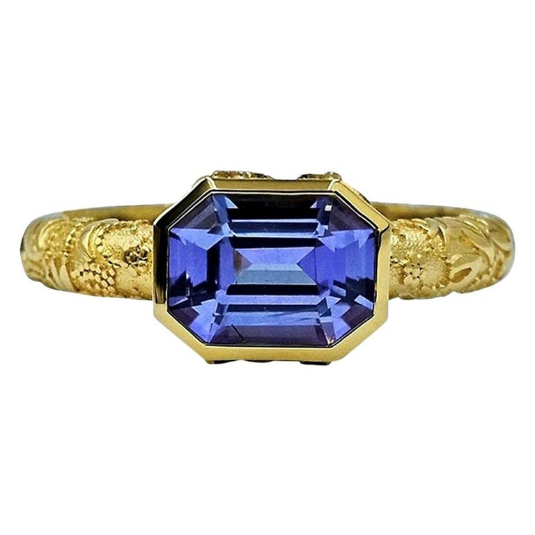 Luca Jouel Natural Violet Sapphire Ornate Ring in Yellow Gold For Sale