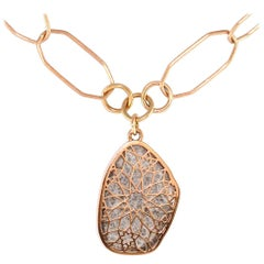 Luca Jouel One of a Kind 4.05 Carat Spotty Diamond Slice Necklace in Rose Gold
