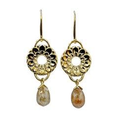 Luca Jouel One of a Kind 4.30 Carat Diamond Briolette Lotus Drop Gold Earrings