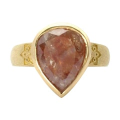 Luca Jouel One of a Kind 5.86 Carat Rose-Cut Pear Diamond Gold Statement Ring