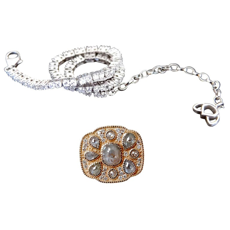 Luca Jouel One of a Kind Rose Cocktail Ring and Diamond Tennis Bracelet For Sale