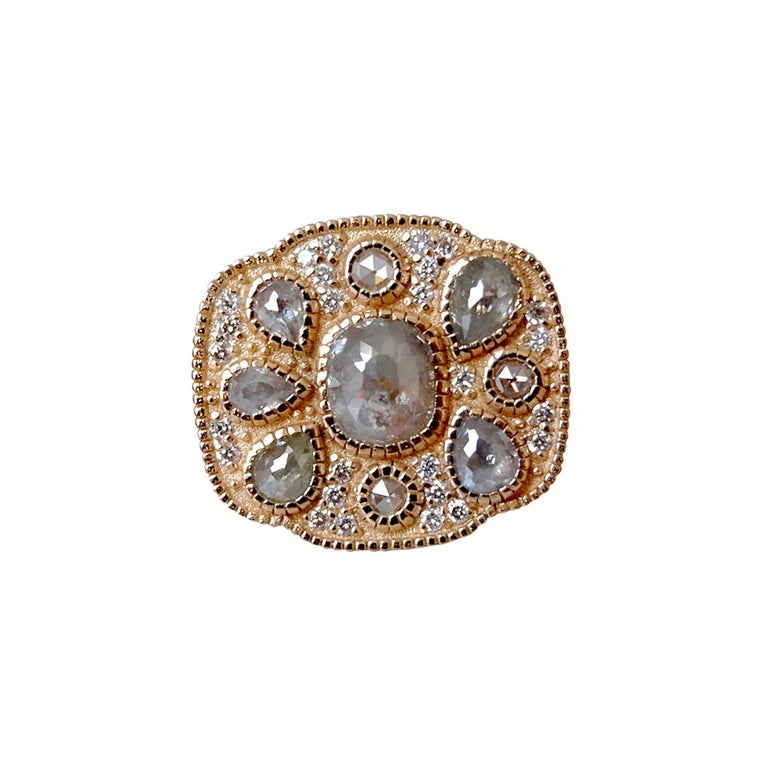 Contemporary Luca Jouel One of a Kind Rose Cocktail Ring and Diamond Tennis Bracelet For Sale