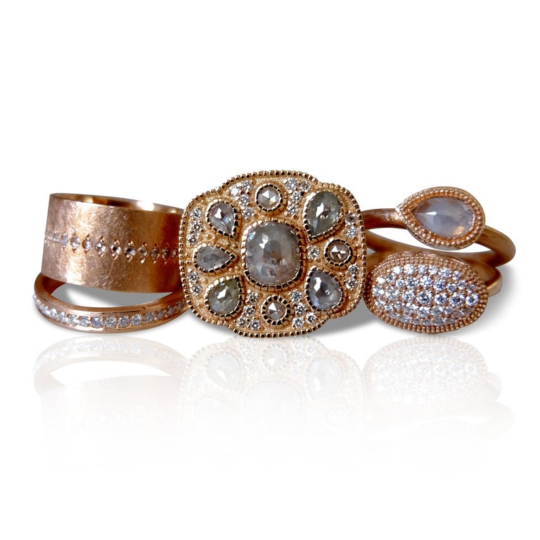 Luca Jouel One of a Kind Rose Cocktail Ring and Diamond Tennis Bracelet For Sale 1