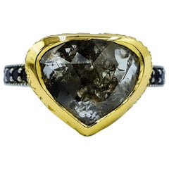 Luca Jouel One of a Kind Rose Cut and Black Diamond Ring in Platinum and Gold