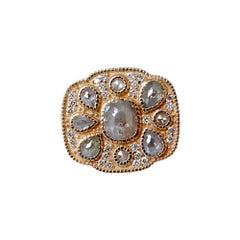 Luca Jouel One of a Kind Rose Cut Diamond Cocktail Ring in 18 Carat Rose Gold