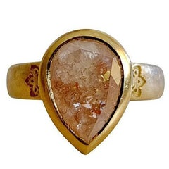 Luca Jouel One of a Kind Rose-Cut Pear Diamond Gold Statement Ring